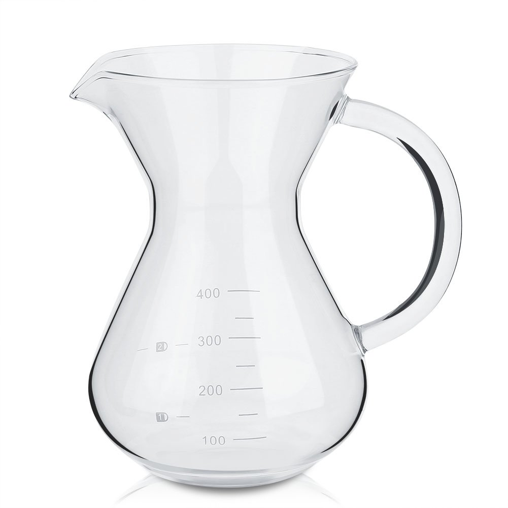 Anti-Scald for Office Home ASHATA Coffee Pot 400ml Glass Hand Drip Coffee Maker Filter Pot with The Thickening Handle Heat Insulation