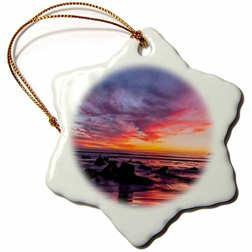 (Christmas Craft Tree Decorations Sunset Over The Pacific From Coronado Snowflake Christmas Ornament Porcelain Present)