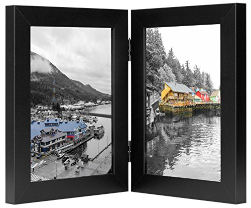 Golden State Art Decorative Hinged Table Desk Top Picture Photo Frame, 2 Vertical Openings, 5x7 inches with Real Glass (5x7 Double, (7 Vertical Picture Frame)