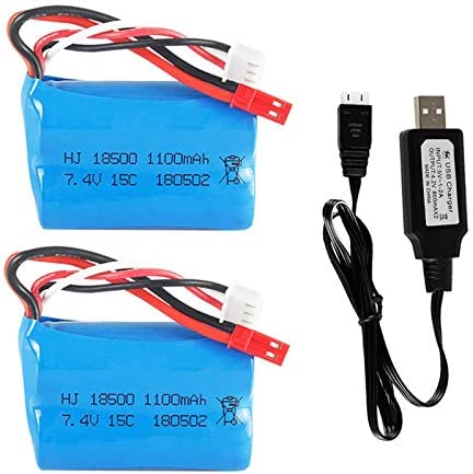 7 4v 1100mah Li Ion Battery Jst Plug For Hq 827 823 871 Mjx T10 T11 T34 Rc Ft007 Rc Boat Spare Parts Accessories 2 Pack With Usb Charger Electronics Amazon Com