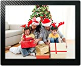 Photo : 12 inch HD Digital Picture Frame Carbon Fiber - 1080p High Definition Electronic Photo Frame With Video, 16GB Memory, Motion Sensor, Built-In Speakers & Remote Control - (Black)