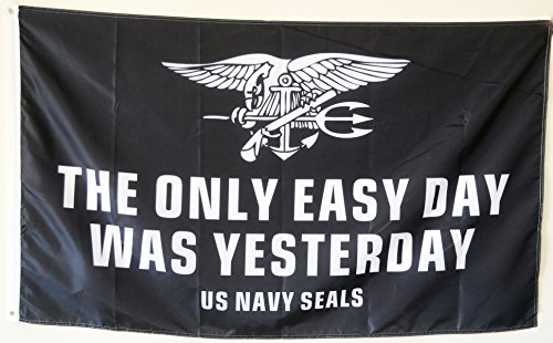 2But The Only Easy Day was Yesterday Banner Flag US Navy Seals Military USA 3x5 Feet