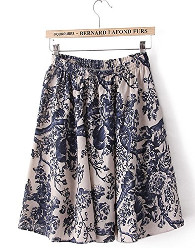 Azue A-Line Pleated Vintage Floral Print Flowy Mini Cute Cotton Skirts Elastic Waist Blue Petit Am I Christmas