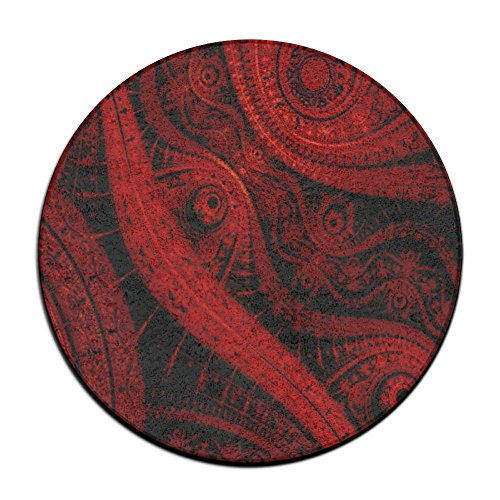 Red Paisley Area Rug Durable Carpet Non-slip Round Floor Mat Home Decor Rugs (60cm Round) (Zelda Print Floral)