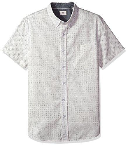 AG Adriano Goldschmied Men's Nash S/s Shirt, PPO True White/Multi Dot, Large (Multi White Dot)