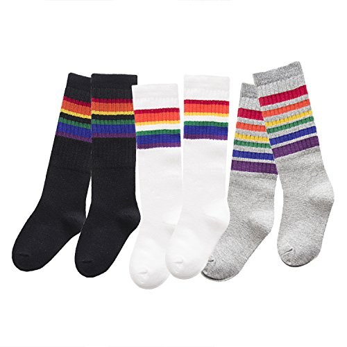 3 Pairs Kids Cotton Stripes Pattern High Stockings Tube Socks, 257 L