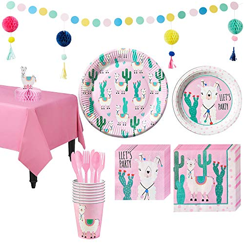 Party City Llama Tableware Kit for 8 Guests, Includes Plates, Napkins, Table Cover, and Decorations ()