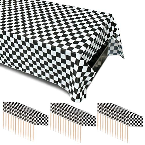 WOWOSS 120 Pack Checkered Racing Flag Party Cupcake Picks and Black & White Checkered Flag Table Cover Party Favor/Checkered Tablecloth for Racing Party Decorations -