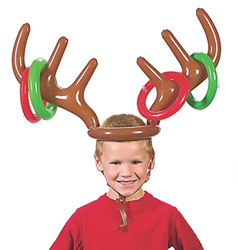 Fashionclubs Christmas Party Inflatable Reindeer Antler Hat Ring Toss -