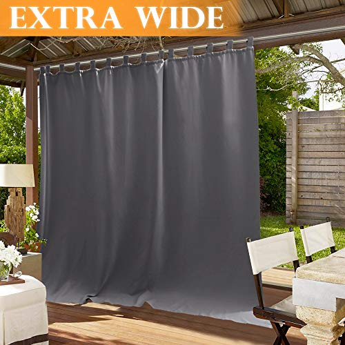 RYB HOME Outdoor Curtains for Patio - Thermal Insulated Drape for Screen Porch, Waterproof Stain & UV Repellent Exterior Lanai/Outside Dining Area, 100 Wide x 95 Long, Grey (Outdoor Patio Screen For)