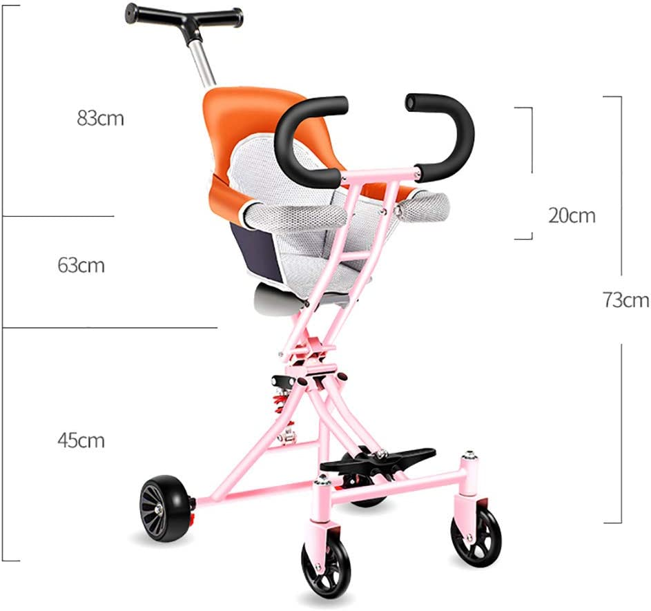 Foldable Double Buggy Two-Seat Childrens Trolley Detachable Twin Baby Stroller Easy to Carry Lightweight Four Wheels for Kids Age 1-5 Years Old,A