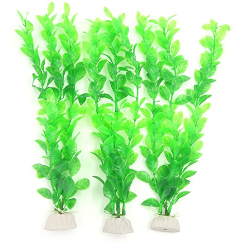 Uxcell 3-Piece Fish Tank Artificial Plants, 10.6-Inch,