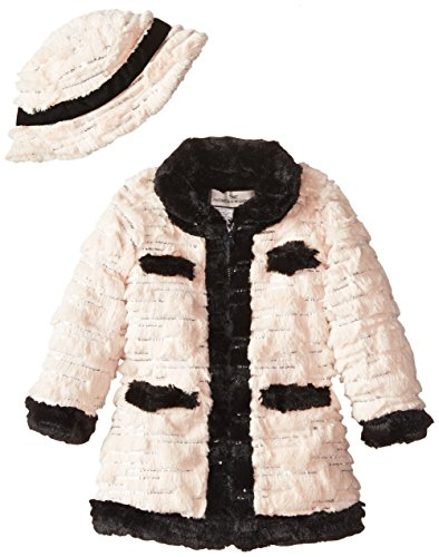 Widgeon Little Girls' Contrast Trim Coat With Sequins, Sequin Blush, 4 by Widgeon