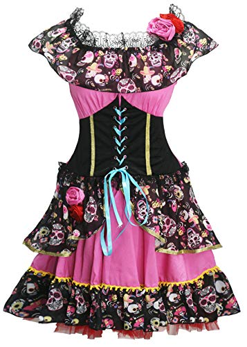 Bslingerie Women Senorita Day of Dead Halloween Costume Dress (M, Black & Pink) -