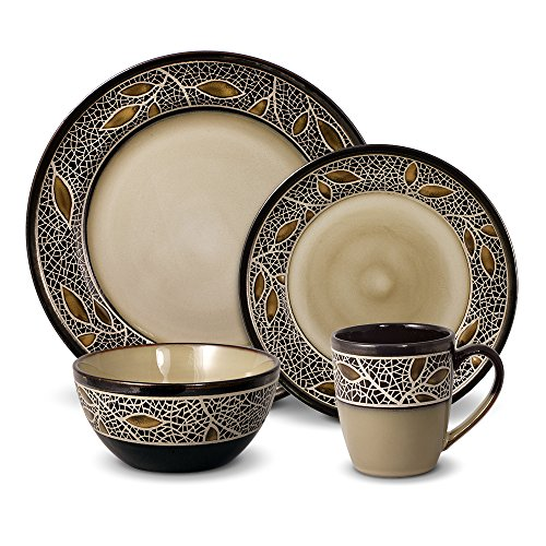 Gourmet Basics Alexandria 32 Piece Dinnerware Set, Brown