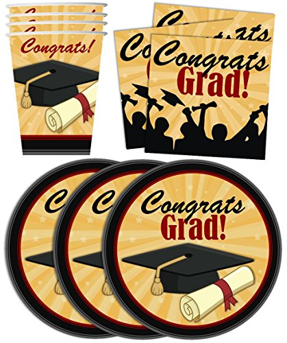 Congrats-Grad-Graduation-Party-Supplies-Set-Plates-Napkins-Cups-Tableware-Kit-for-16-by-Birthday-Galore