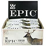 Epic All Natural Meat Bar, 100% Grass Fed, Venison, Sea Salt & Pepper, 1.5 ounce bar, 12 count