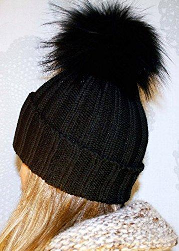 Damen/Damen Winter Knit Beanie Ski Hat Cap mit weicher Kunstfell groß Pom Pom Winter Beanie Superior Qualität Dehnbar UK Anbieter am selben Tag Lieferung. Black/Black Pom Pom