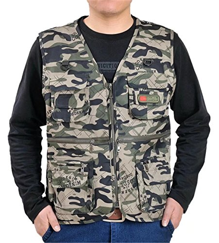 DigerLa Men's Multiple Pockets Outdoor Photo Fishing Travel Camo Vest Green Camouflage Mens Vest