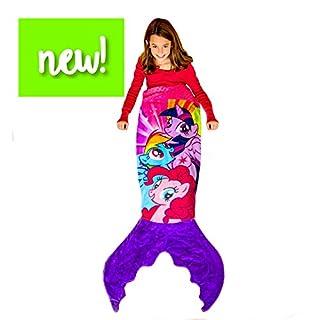 Blankie Tails | My Little Pony Mermaid Blanket Wearable Blanket - Double Sided My Little Pony Minky Fleece Blanket - Mermaid Tail Blanket (56'' H x 27'' (Kids Ages 5-12), Purple & Pink)