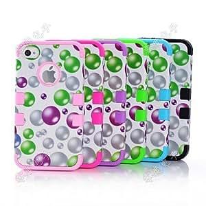HP-Burbuja híbrido resistente plástico de silicón duro mate de la cubierta del caso de cuerpo completo para iPhone 4/4S , Púrpula