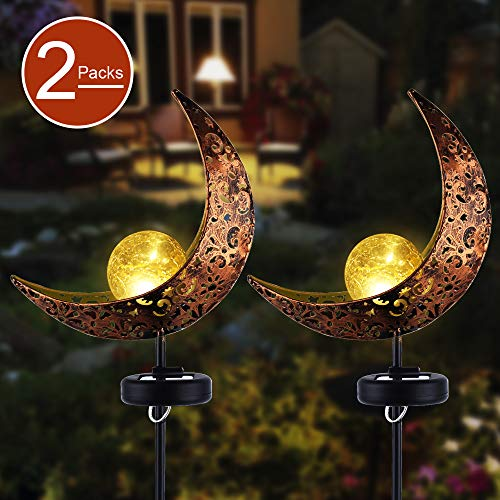 Garden Solar Stake LightsAPONUO Pathway Outdoor Moon Crackle Glass Globe Stake Metal LightsWaterproof Warm White LED for LawnPatio or Backyard 2 Packs