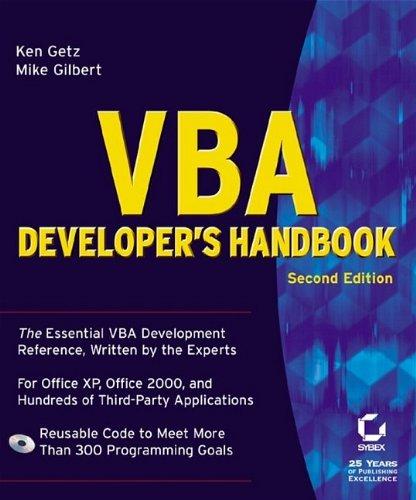 VBA Developer's Handbook ISBN-13 9780782129786