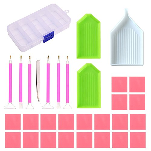 Hombae Diamond Painting Tools Cross Stitch Kits DIY Embroidery Pen with Metal Tweezers, Glue, Plastic Tray, Storage Box, Diamond Painting Accessories Set (31PCs)
