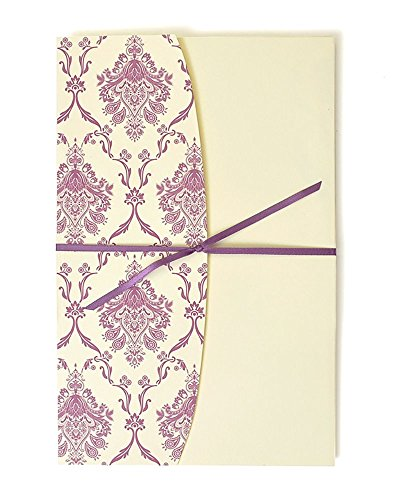 Purple Damask Jacket Print at Home Invitation -