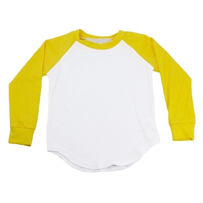 dceff196 Dress Up Dreams Boutique Unisex Little Kids Yellow Two Tone Long Sleeve  Raglan Baseball T-