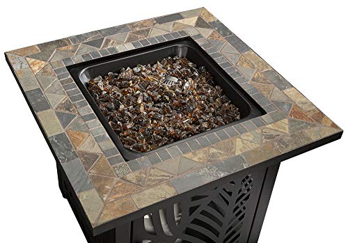 Endless Summer GAD15258SP LP Gas Outdoor Fire Table, Multi Color - Endless Summer Square LP Gas Fire Table with Stamped Steel Leaf Design Base 50,000 BTU Stainless Steel Burner with Integrated Ignition Slate Tile Mantel - patio, outdoor-decor, fire-pits-outdoor-fireplaces - 517CQVEAE%2BL -