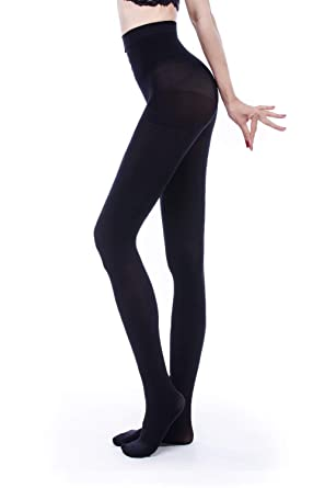 a2fa8a6739bf1 Women's 80 Denier Semi Opaque Solid Color Footed Pantyhose Tights (S/M,  Black