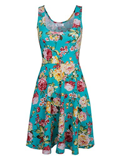 Tom's Ware Women's Casual Fit and Flare Floral Sleeveless Dress