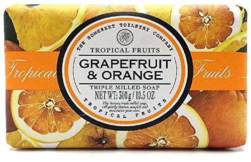 Somerset Tropical Fruits Grapefriut & Orange Moisturizing Triple Milled Soap 10.5 Oz, Imported From England (Grapefruit & Orange, Large 10.5 oz/300g)