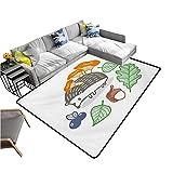 Kitchen Doormat Hedgehog,Colorful Hedgehog with Various Edible Items Mushrooms Nuts and Leaves Animal Diet,Multicolor 36'x 60',Bedroom Rugs