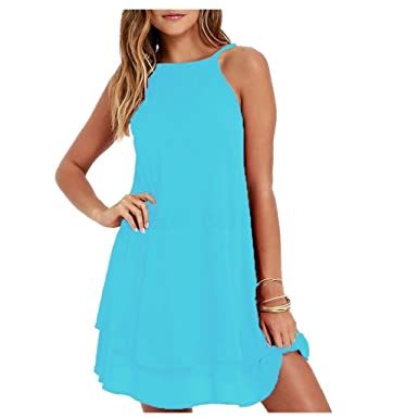 a944daf1f0e8 Creazrise Women Sleeveless Strappy Short Dress Ladies Plus Size Loose Beach  Dress Black (Blue