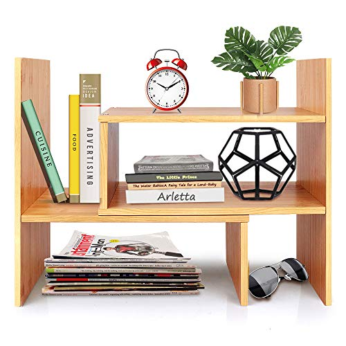 Desktop Bookshelf Adjustable Wood Display Shelf Bookcase Office Supplies Desk Organizer Storage Rack   Birthday Gifts - Toy - Home Decor - Natural Bamboo Stand Shelf
