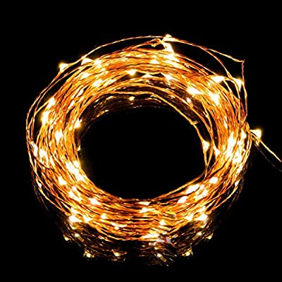 Solar Powered Copper Wire Lights - AVAWO® 33ft 100 LEDs Starry String Lights, Copper Wire Lights Ambiance Lighting for Outdoor, Gardens, Homes, Dancing, Christmas Party(Warm White)