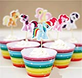 Astra Gourmet My Little Pony Cupcake Wrappers and Toppers Picks for Kids Baby Shower Birthday Party Cake Decoration Supplies,Set of 24