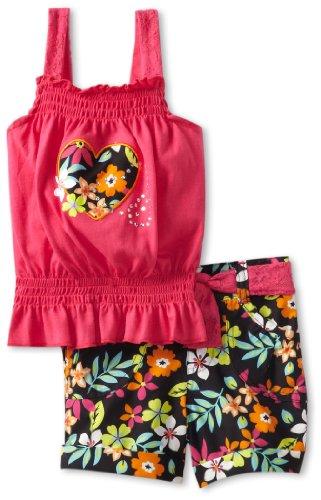 Little Lass Girls 2-6X 2 Piece Short Set With Flower Print