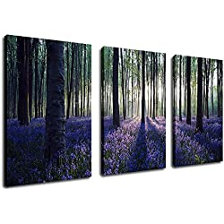 "Canvas Wall Art Purple Lavender Forest Morning Sunshine Painting - 30"" x 20"" x 3 Pieces Canvas Art Nature Picture Large Landscape Modern Artwork Big Trees for Home Decoration Framed Ready to Hang"