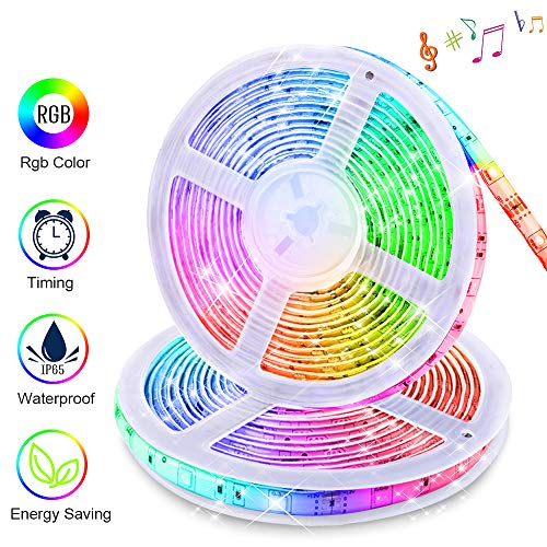 LED Strip Lights Sync to Music, KDORRKU 32.8ft Flexible 10m Self-Adhesive RGB Light Strips Remote Color Change IP65 Waterproof 300LEDs 5050 Tape Lights Neon Ribbon Room Mood Lighting 12V for Bedroom ()