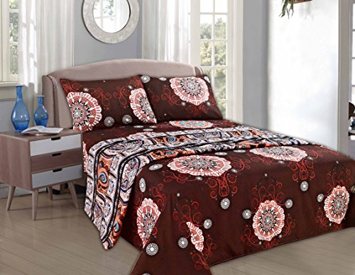 - Tache 3 Piece Burgundy Palace Fancy Patterned Fitted/Flat Sheet Set, Twin