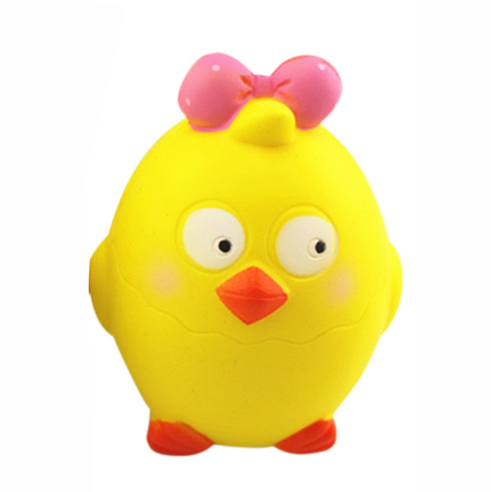 FTXJ Kawaii Cut Cartoon Chick Tricky Squishy Slow Rising Squeeze Collection Cure Toy Adults Slow Rising Squeeze Hand Wrist Stress Relief Toys (107.55cm, Yellow)