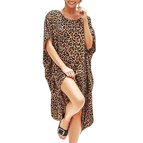 (Sexy Women's Leopard Print Short Sleeve Dresses, AmyDong Ladies Fashion Open Splice Casual Loose Summer Dress Brown)