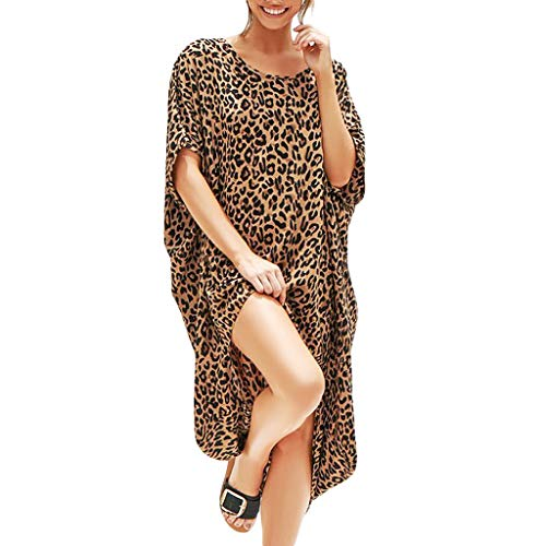 45a4597c508 Gyouanime Plus Size Dress Womens Leopard Splice Print Casual Summer Dress  Loose Skirts Ladies Sexy Fashion
