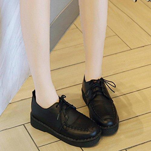 Shoes Women's TAOFFEN Black Lace Up qXpqn1wR