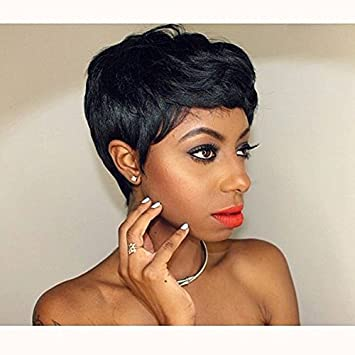Amazon Com Beisd Short Black Pixie Cut Hair Natural Synthetic Wigs