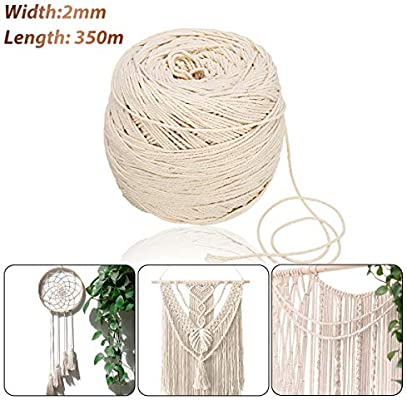 Jeteven 2mm x 350m Cuerda Cordel de Algodón Hilo Macramé 100% Natural Trenzado Algodón DIY Planta de Colgar en la Pared Percha Hecha a Mano Craft para Decoración Interior Decoración Bohemia: Amazon.es:
