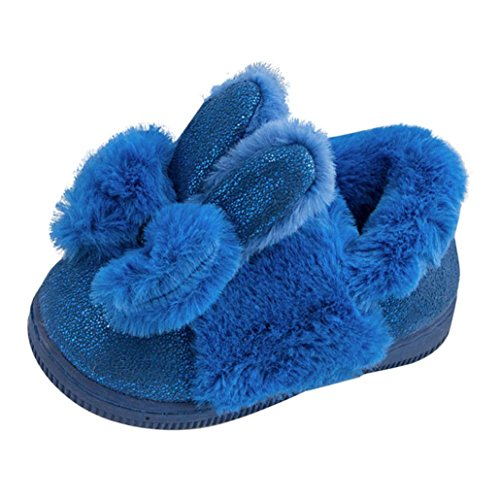 HUHU833 Neuer Kinder Mode Mädchen Leater Bowknot Rubber Soft Sole Snow Boots Soft Crib Shoes Toddler Boots Blau